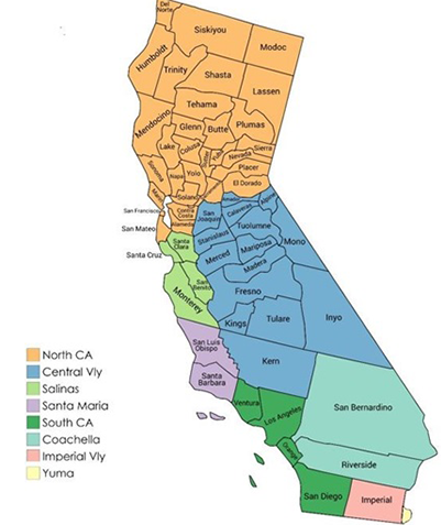 California Map For QA Romain Outbreak Winter 2019