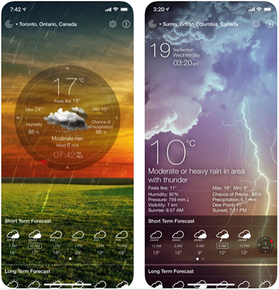 Weather live app screens